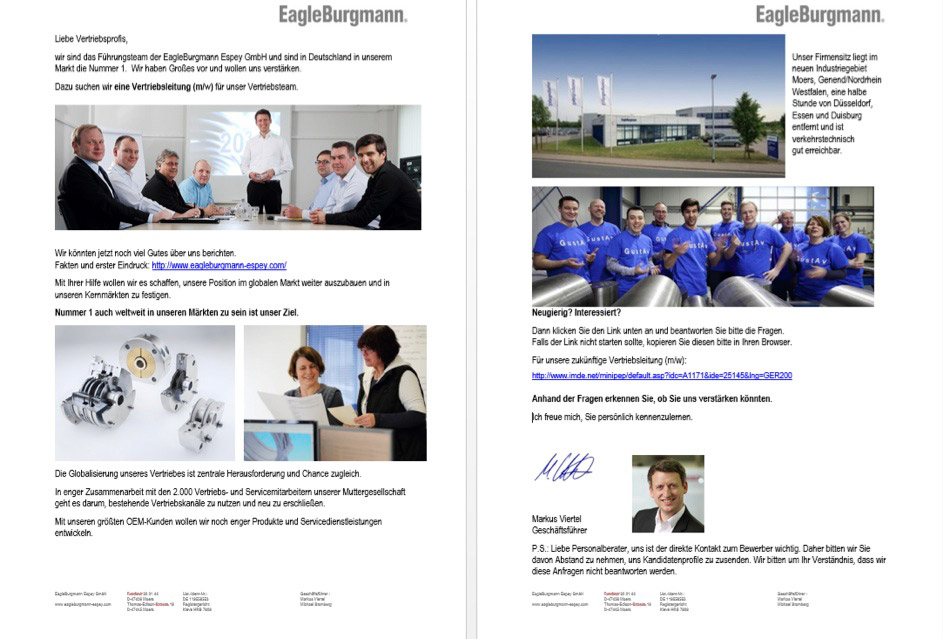 Recruiting im Hause Eagle Burgmann: Der Verstärkungswunsch.